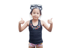 Little girl in snorkel mask. Cute little girl wearing a snorkel mask for diving on white background Stock Image