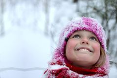 Little girl  in snow . Royalty Free Stock Photos