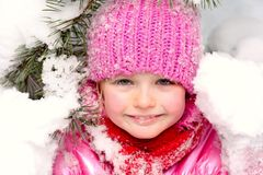Little girl  in snow . Royalty Free Stock Photography