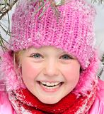 Little girl  in snow . Stock Images