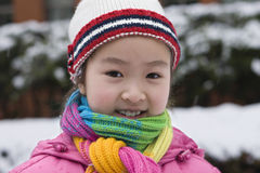 Little girl in snow Royalty Free Stock Photos