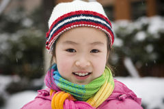 Little girl in snow royalty free stock photo