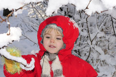 The little girl in the snow Royalty Free Stock Photography