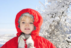 The little girl in the snow Royalty Free Stock Photo