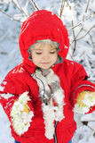 The little girl in the snow Stock Photography