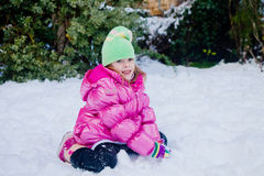 Little girl in the snow Stock Photography