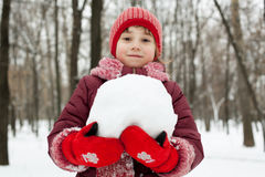 Little girl with a snowball in his hands Royalty Free Stock Images