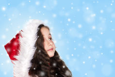 Little girl with snowflakes Royalty Free Stock Images
