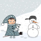 Little girl with snowman. Swite little girl with big snowman Stock Photography