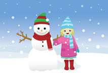 Little Girl and Snowman. Vector illustration of a little girl standing beside a snowman on a snowy day Stock Images