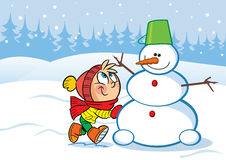 Little girl and snowman Royalty Free Stock Image