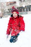 Little girl and snowman Stock Photo