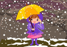 Little girl on snowy Day royalty free illustration