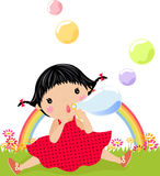 Little girl and soap bubbles. Illustration Stock Image