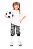 Little girl with soccer ball Stock Photos