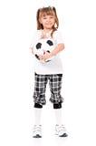 Little girl with soccer ball Stock Image