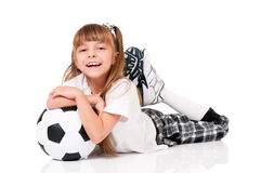 Little girl with soccer ball Royalty Free Stock Image