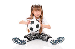 Little girl with soccer ball Stock Photo