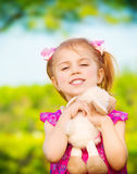 Little girl with soft toy Royalty Free Stock Images