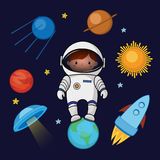 Little girl spaceman in space, rocket satellite UFO planets stars. Cartoon vector illustration isolated on dark background. Little girl, kid spaceman in space Stock Images