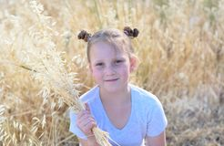Portrait adorable little girl, age 9-10 on yellow autumn field. royalty free stock images