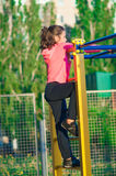 Little girl in sportswear on the playground Royalty Free Stock Photography