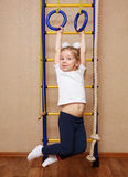 Little girl sportswoman stock photo