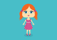 Little girl in a spotted dress vector Royalty Free Stock Photography