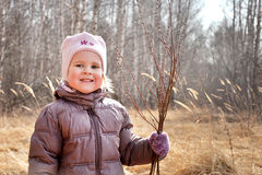 Little girl in spring Royalty Free Stock Images