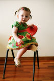 Little girl in spring dress. A little girl wearing a spring sundress Royalty Free Stock Photo