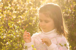 Little girl with spring flowers in nature Stock Images