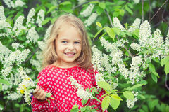 Little girl in spring flowers Royalty Free Stock Image