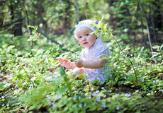 Little girl in spring forest Stock Image