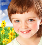 Little girl at spring garden. Little girl four years old at spring garden royalty free stock images