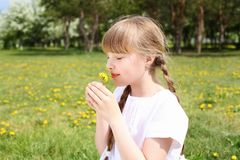 Little girl in spring park Royalty Free Stock Photography