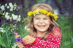 Little girl in spring park Stock Photography