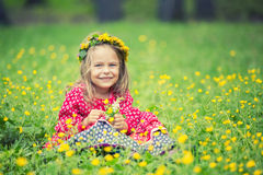 Little girl in spring park Royalty Free Stock Image