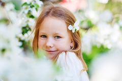 Little girl spring portrait Stock Photos