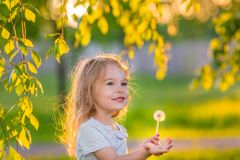 Little girl in spring sunny park Stock Photos