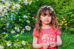 Little girl on a spring walk Royalty Free Stock Image