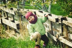 Little girl on a spring walk in the Park Stock Photography