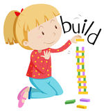 Little girl stacking the blocks royalty free illustration