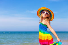 Little girl  standing on the beach Royalty Free Stock Image