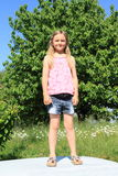 Little girl standing on a car Royalty Free Stock Photography