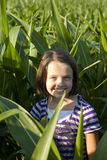 Little girl standing in corn Royalty Free Stock Photography
