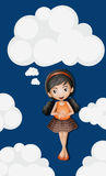 Little girl standing on fluffy clouds background Royalty Free Stock Photo