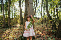 Little girl standing in the forest with ferns Royalty Free Stock Photos