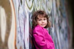 Girl and graffiti Stock Photo