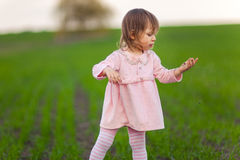 Little girl is standing in the middle of the field. Stock Photography