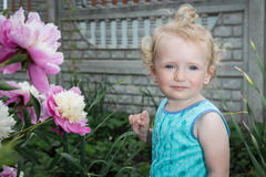 Little girl is standing near flowers. Stock Images